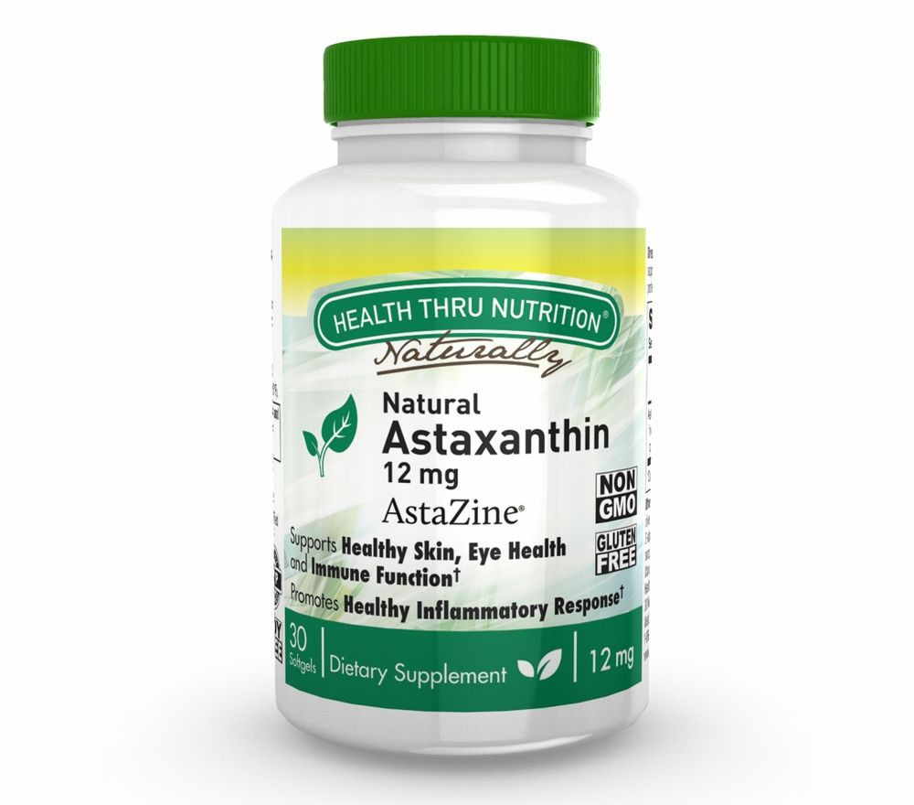 Image of Astaxanthin 12mg - Natural (non-GMO) (30 Softgels) - Health Thru Nutrition 0819193020920
