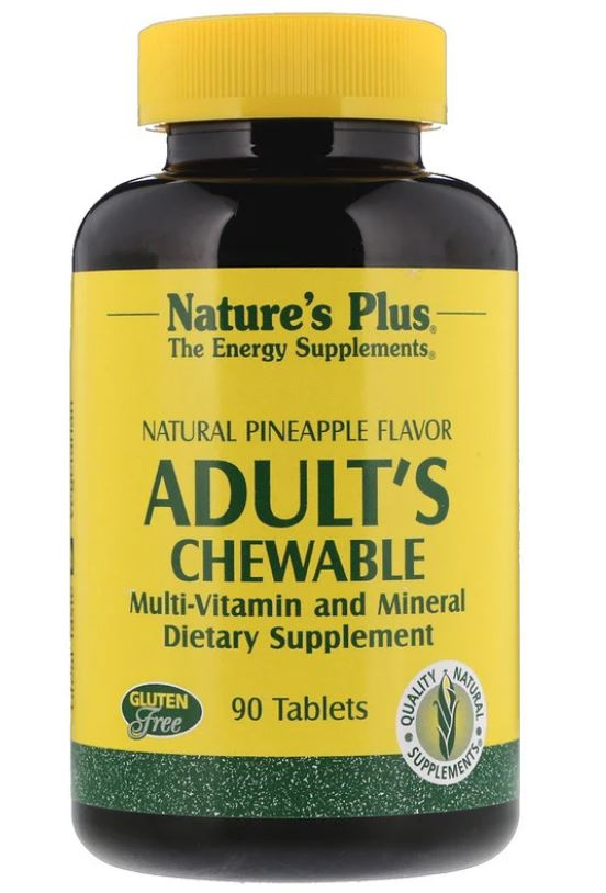 Image of Adult's Chewable Multi-Vitamin and Mineral - Natural Pineapple Flavor (90 Tablets) - Nature's Plus 0097467030879