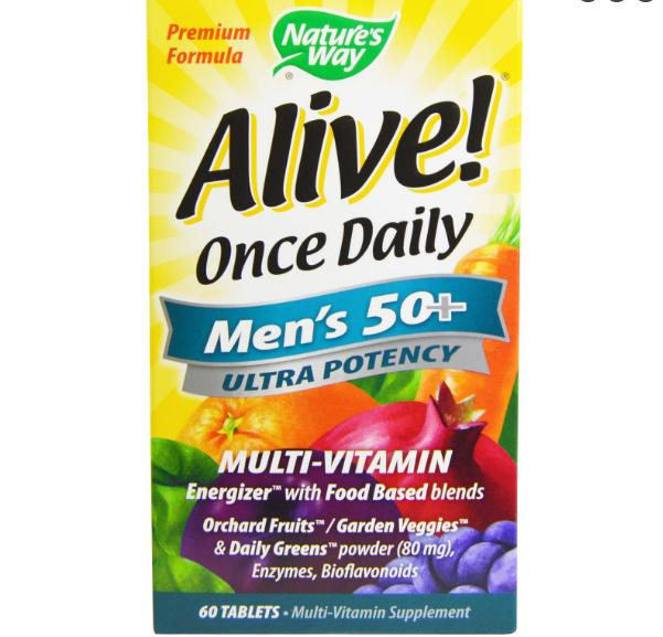 Image of Nature's Way, Alive! Once Daily, Men's 50+, Ultra Potency, Multi-Vitamin & Whole Food Energizer, 60 Tablets 0033674156919