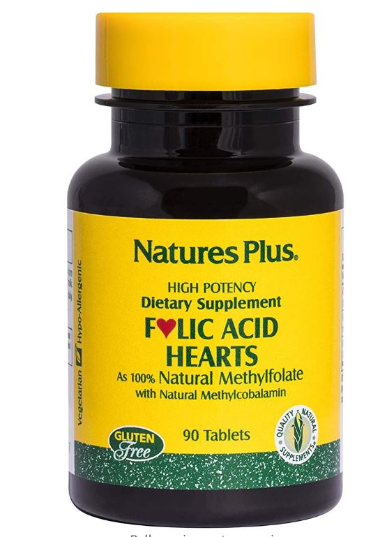 Image of Folic Acid Hearts 400 mcg (90 Tablets) - Nature's Plus 0097467017917
