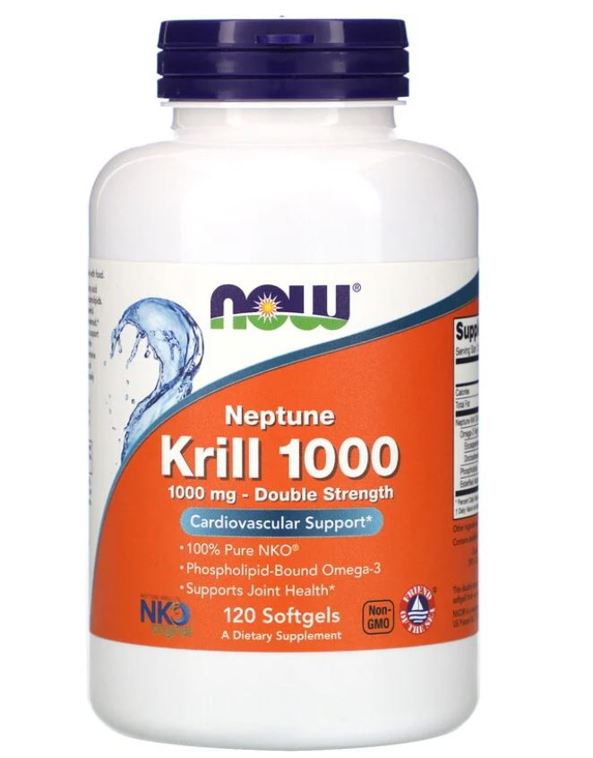 Image of Neptune Krill 1000- 1000 mg (120 softgels) - Now Foods 0733739016294