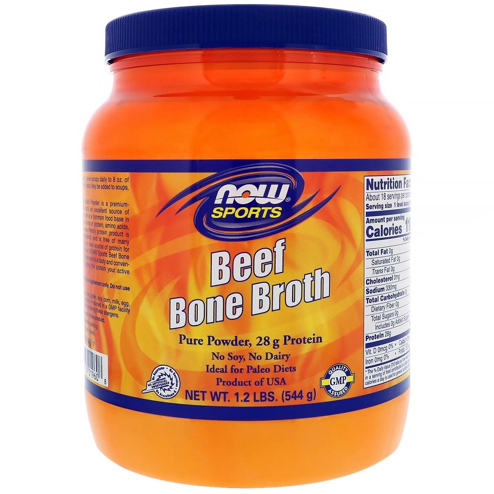 Image of Beef Bone Broth (544 gram) - Now Foods 0733739019608