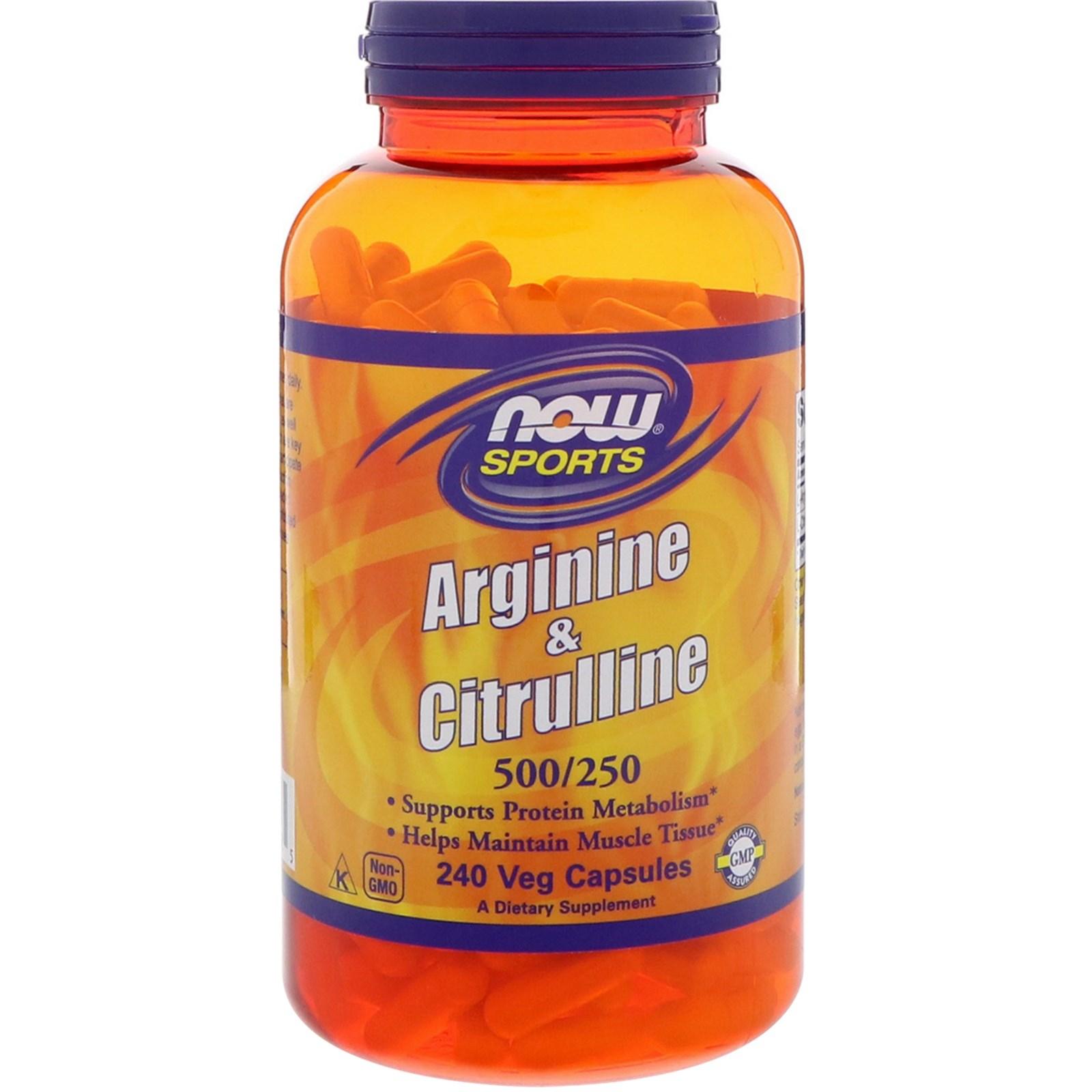 Image of Arginine & Citrulline- 500/250 mg (240 Vegetarian Capsules) - Now Foods 0733739000385