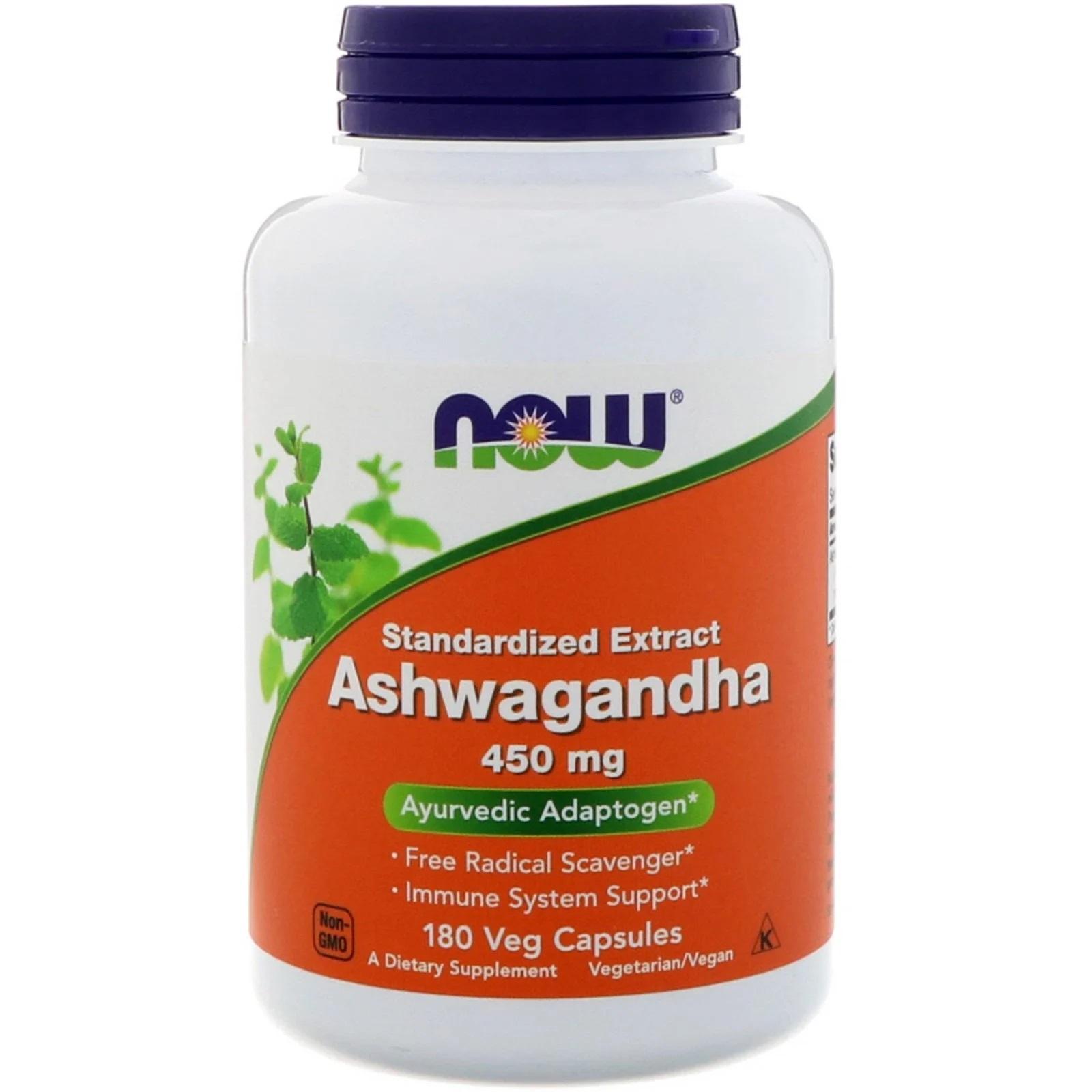 Image of Ashwagandha- 450 mg (180 Vegetarian Capsules) - Now Foods 0733739045935
