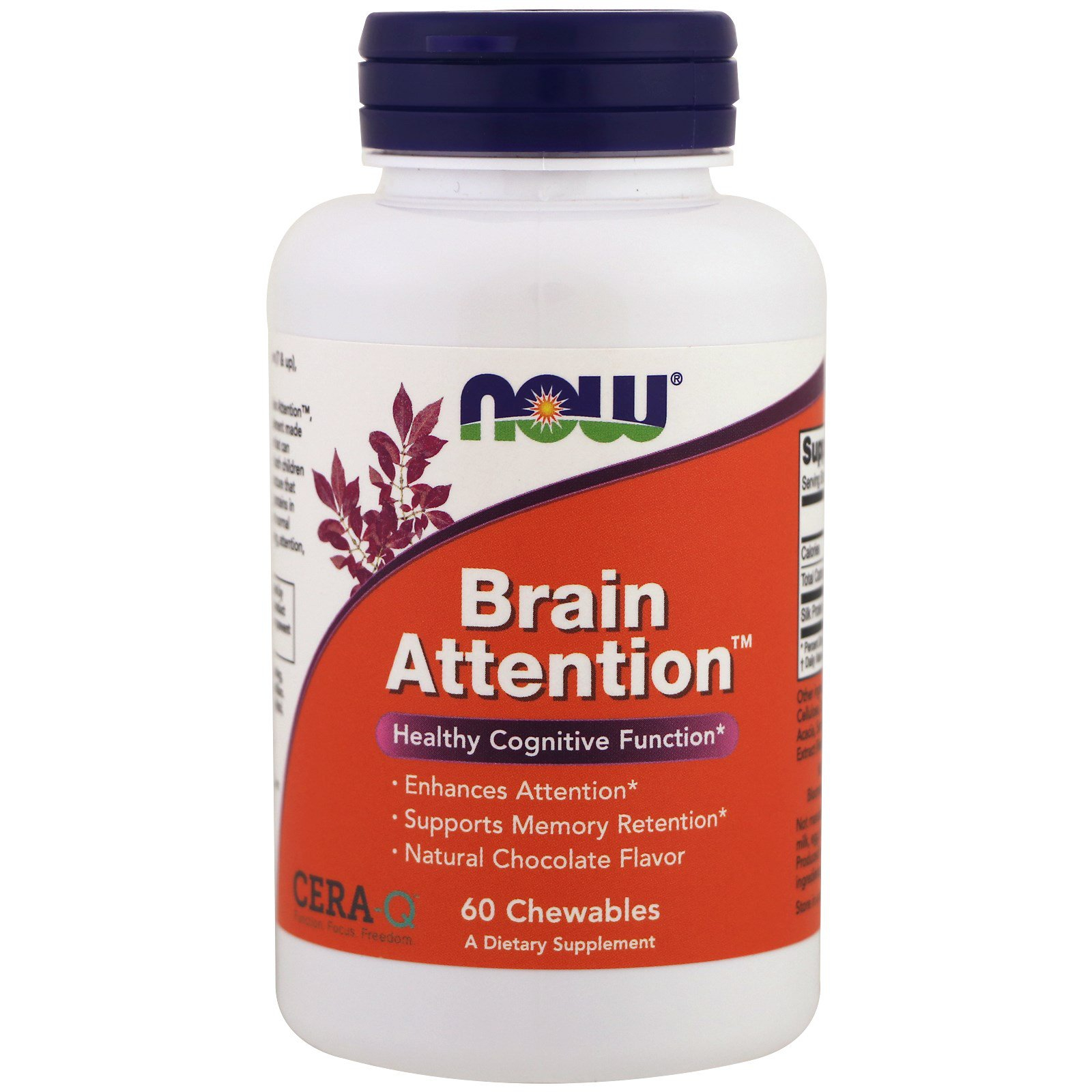 Image of Brain Attention- Natural Chocolate Flavor (60 chewable tablets) - Now Foods 0733739023971