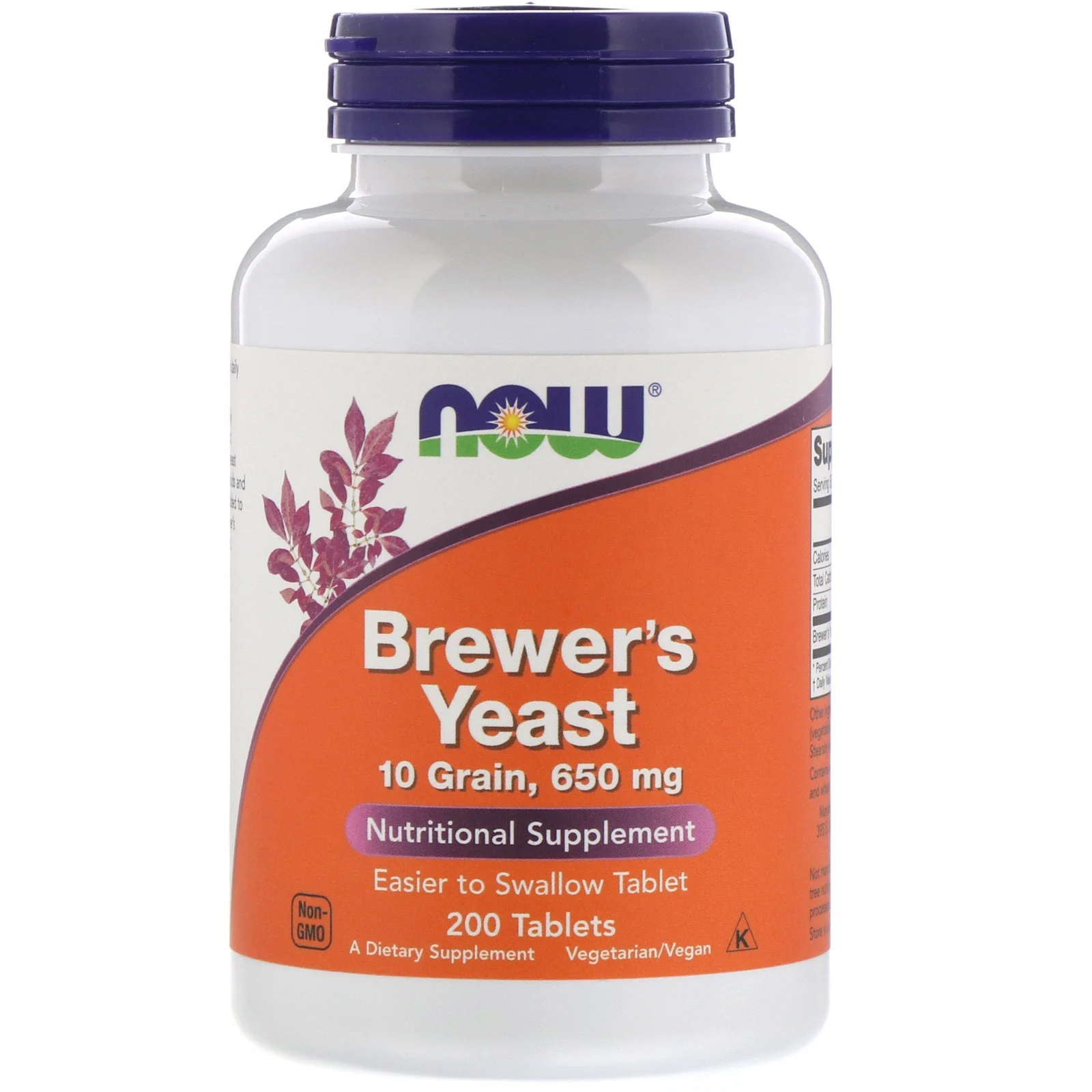 Image of Brewer's Yeast 650 mg (200 Tablets ) - Now Foods 0733739024107