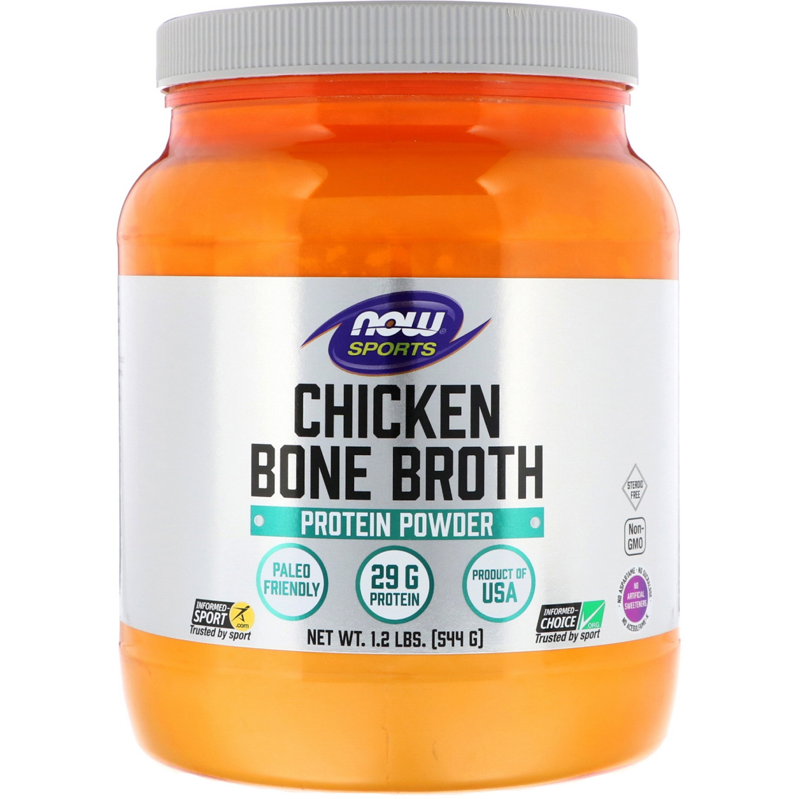 Image of Chicken Bone Broth (544 gram) - Now Foods 0733739019622