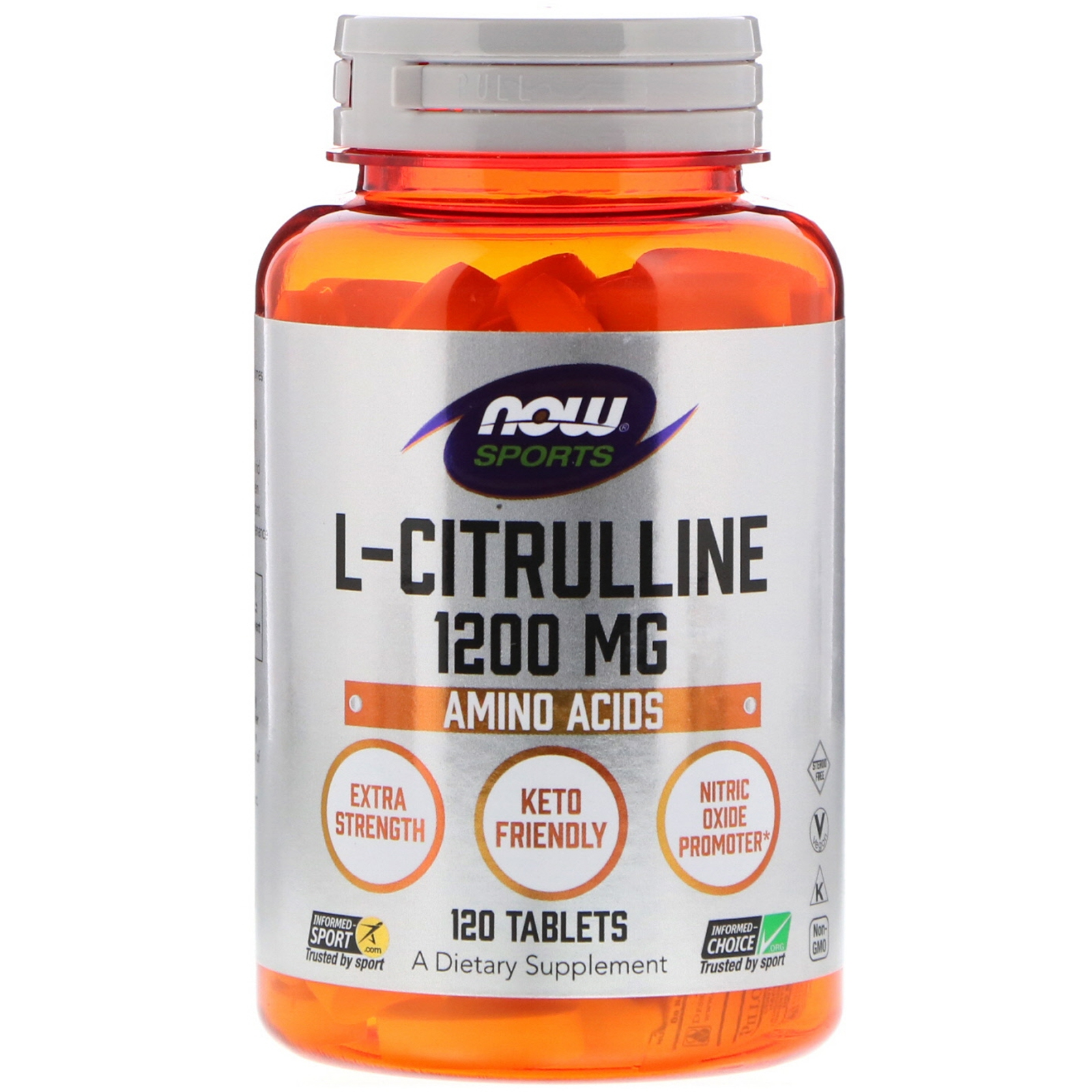 Image of L-Citrulline - Extra Strength 1.200 mg (120 tablets) - Now Foods 0733739001160