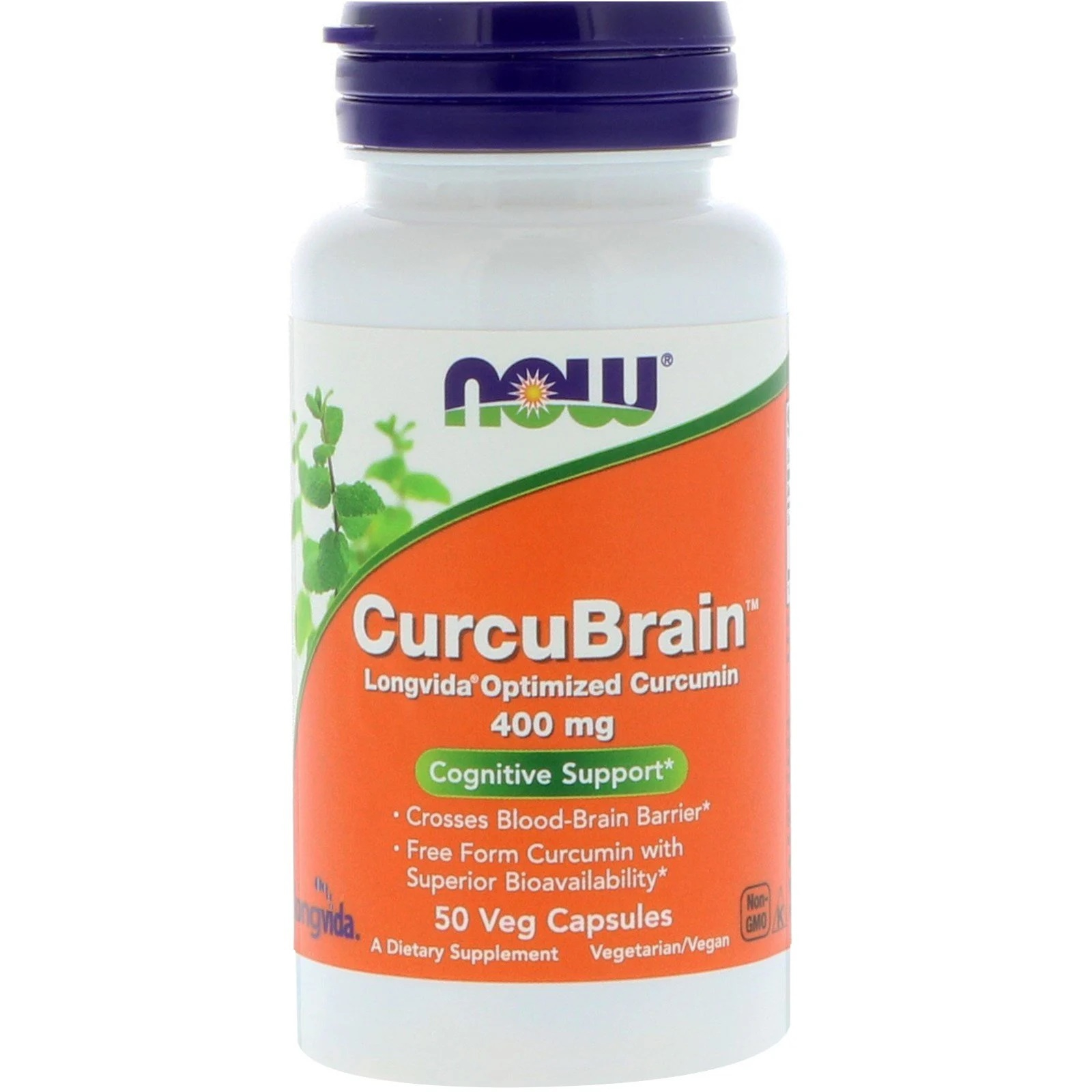 Image of CurcuBrain Cognitive Support 400 mg (50 Vegetarian Capsules) - Now Foods 0733739023957