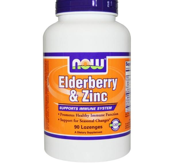 Image of Now Foods, Elderberry & Zinc, 90 Lozenges 0733739032997