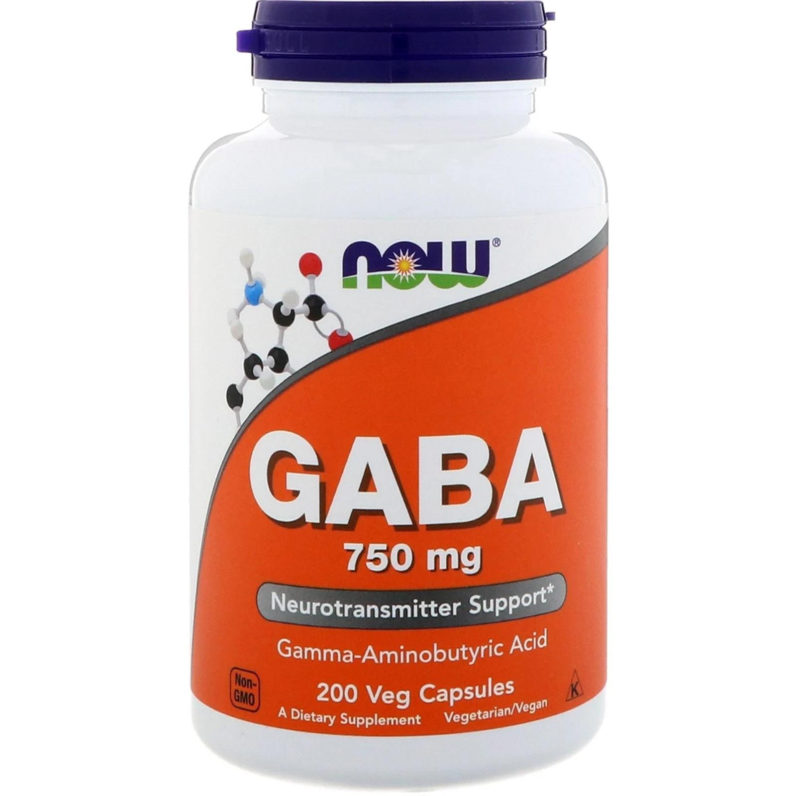 Image of GABA- 750 mg (200 Vegetarian Capsules) - Now Foods 0733739001290