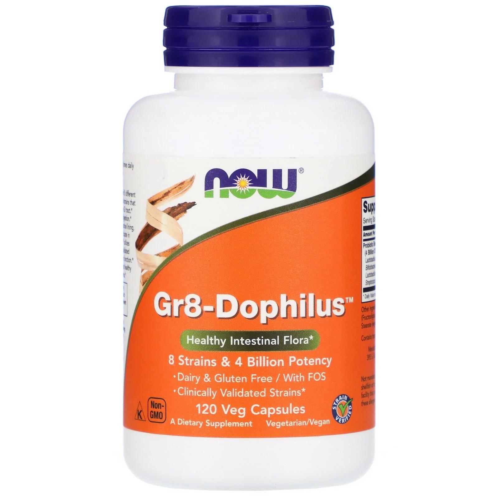 Image of Gr8-Dophilus (120 Vegetarian Capsules) - Now Foods 0733739029102