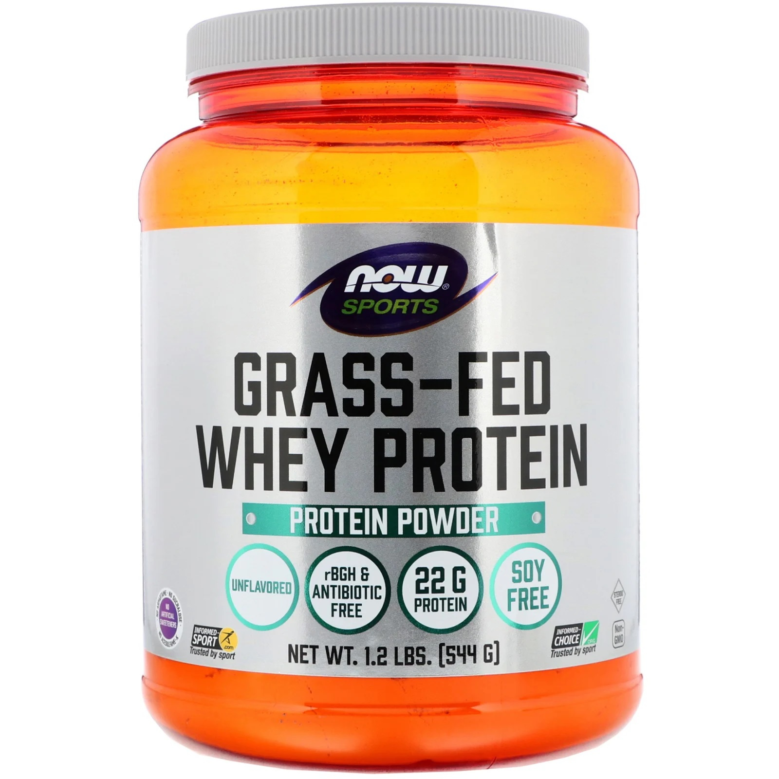 Image of Grass-Fed Whey Protein Concentrate- Natural Unflavored (544 gram) - Now Foods 0733739021014