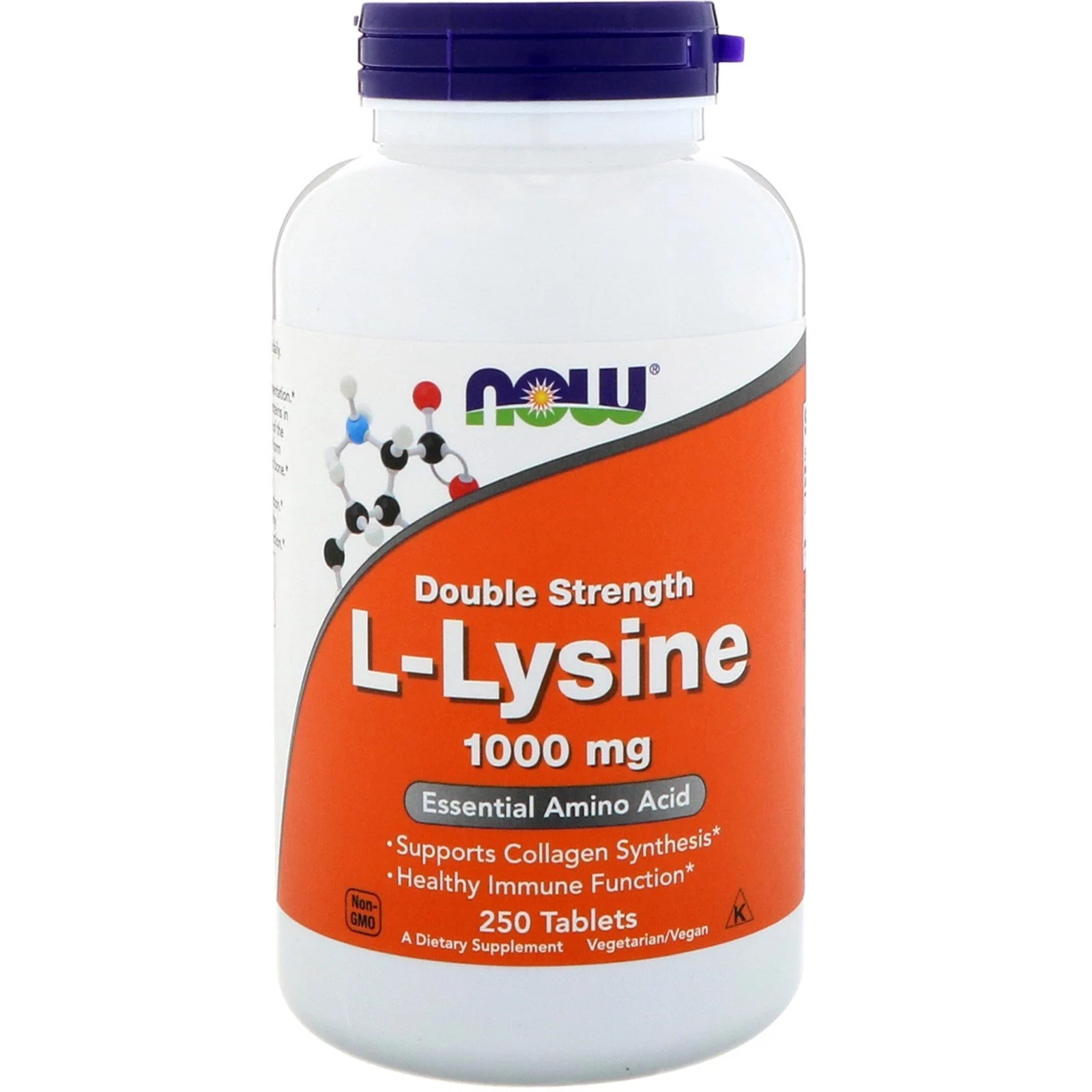 Image of L-Lysine- 1000 mg (250 tablets) - Now Foods 0733739001238