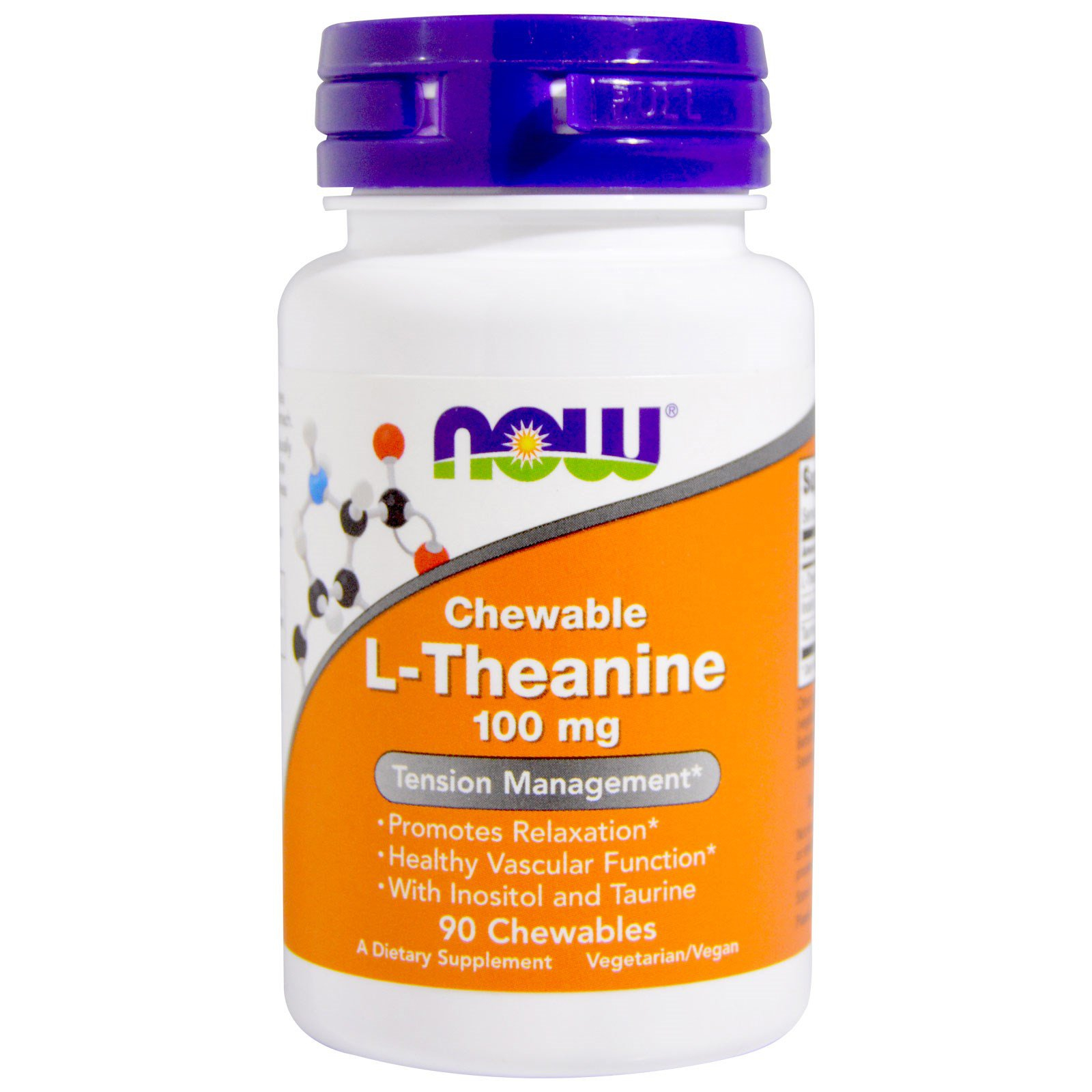 Image of L-Theanine 100 mg (90 chewable tablets) - Now Foods 0733739001443