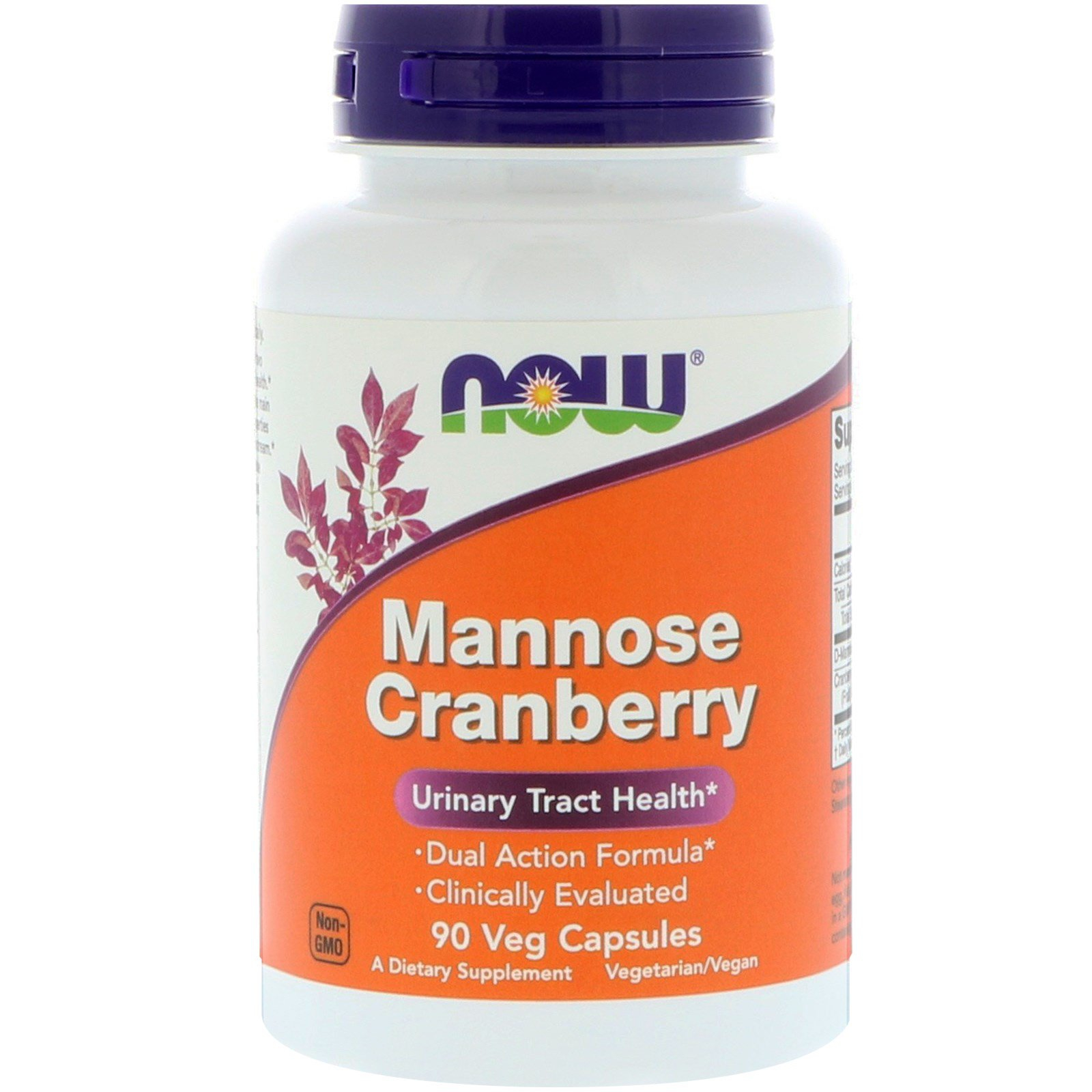 Image of Mannose Cranberry (90 Vegetarian Capsules) - Now Foods 0733739028143