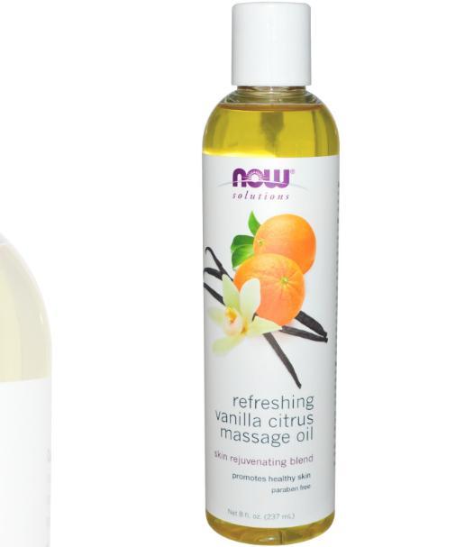 Image of Refreshing Vanilla Citrus Massage Oil (237 ml) - Now Foods 0733739076717