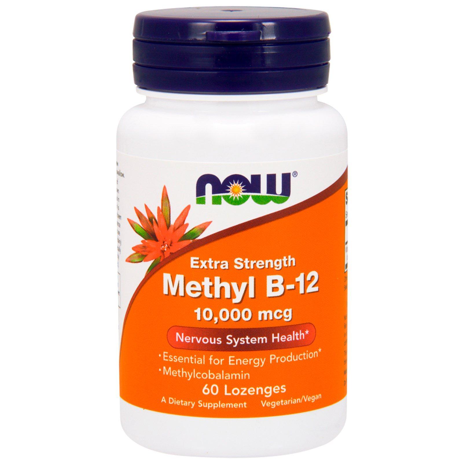 Image of Methyl B-12 Extra Strength 10.000 mcg (60 lozenges) - Now Foods 0733739005014