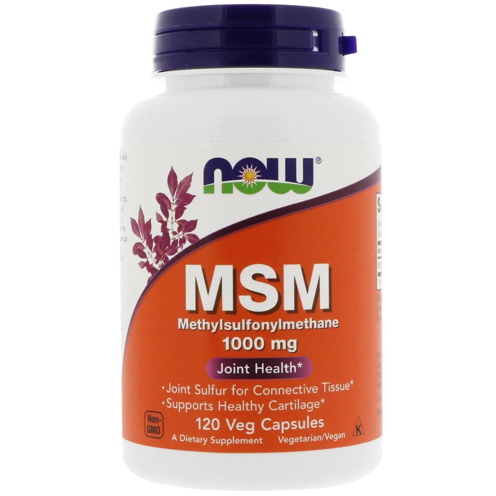 Image of MSM - Methylsulfonylmethane 1.000 mg (120 Vegetarian Capsules) - Now Foods 0733739021205