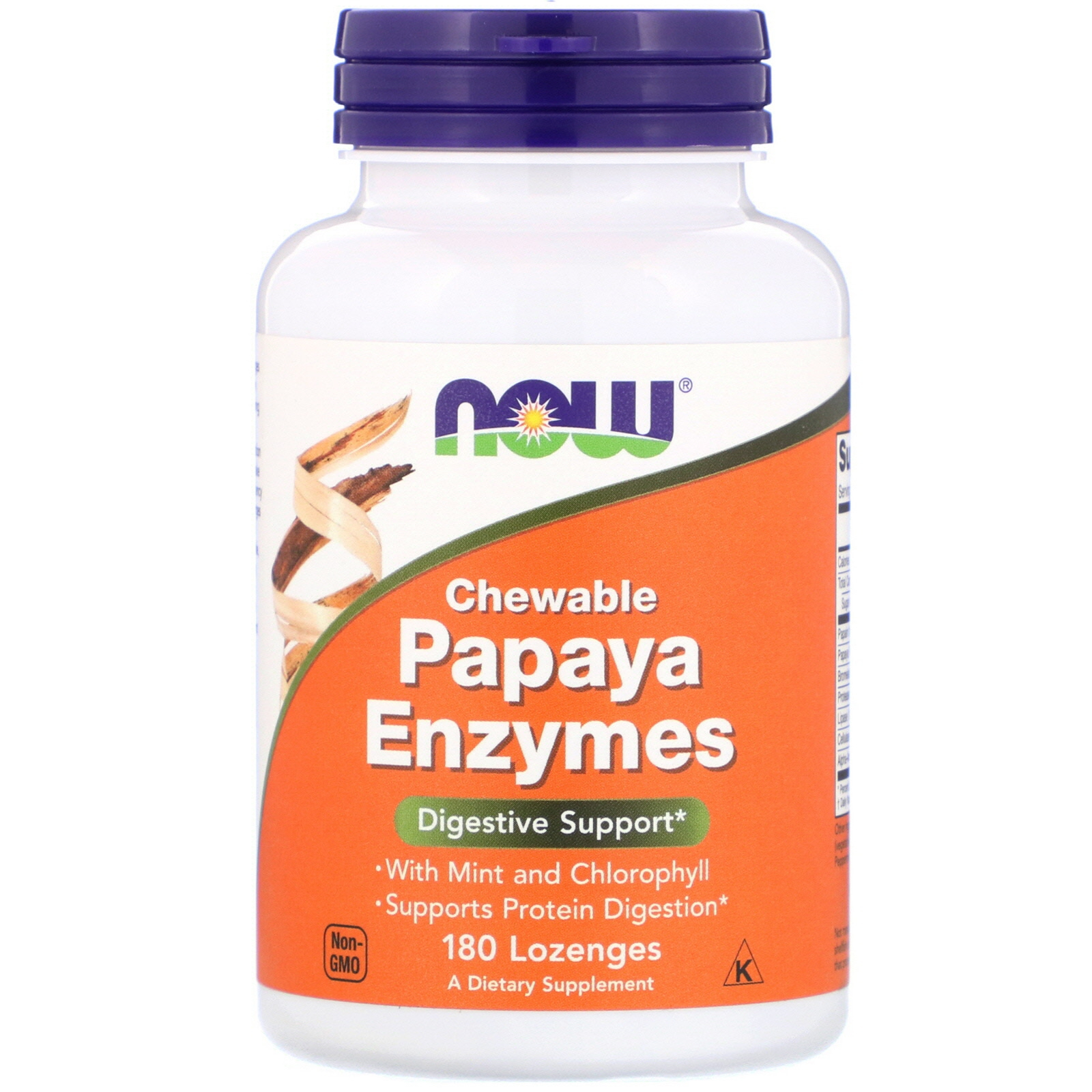 Image of Chewable Papaya Enzymes (180 lozenges) - Now Foods 0733739029706