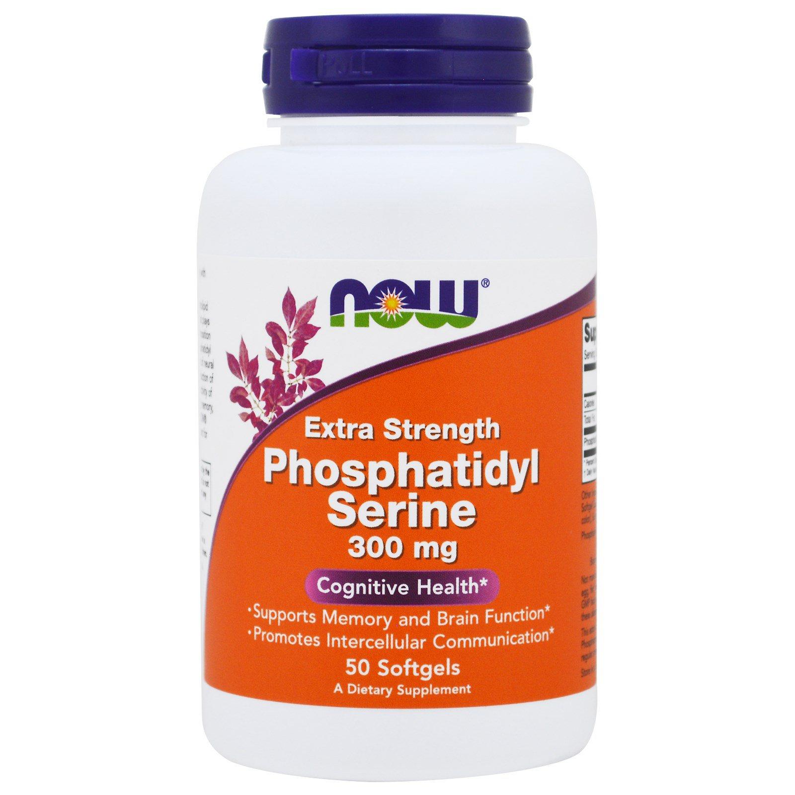 Image of Extra Strength Phosphatidyl Serine- 300 mg (50 softgels) - Now Foods 0733739023926