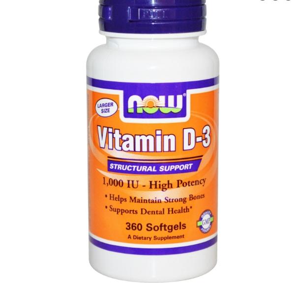 Image of Now Foods, Vitamin D-3, High Potency, 1,000 IU, 360 Softgels 0733739003751