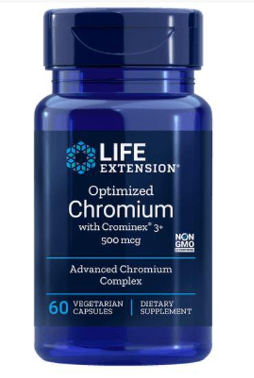Image of Cromo Ottimizzato Con Crominex 3+ 500 Mcg - 60 Capsule Vegetali - Life Extension 0737870150466