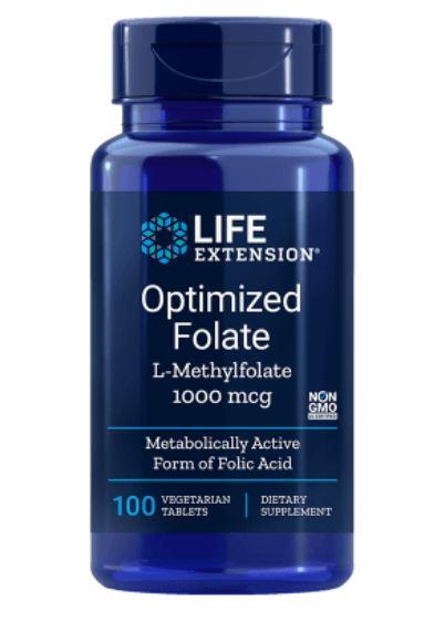 Image of Life Extension, Optimized Folate (L-Methylfolate), 1000 mcg, 100 Veggie Caps 0737870193913