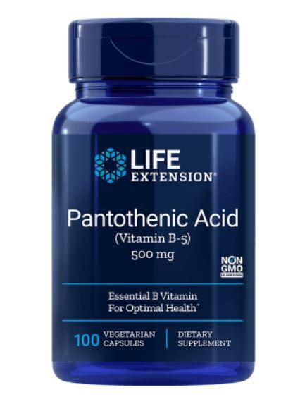 Image of Acido Pantotenico (Vitamina B5) 500 Mg 100 Capsule - Life Extension 0737870202813