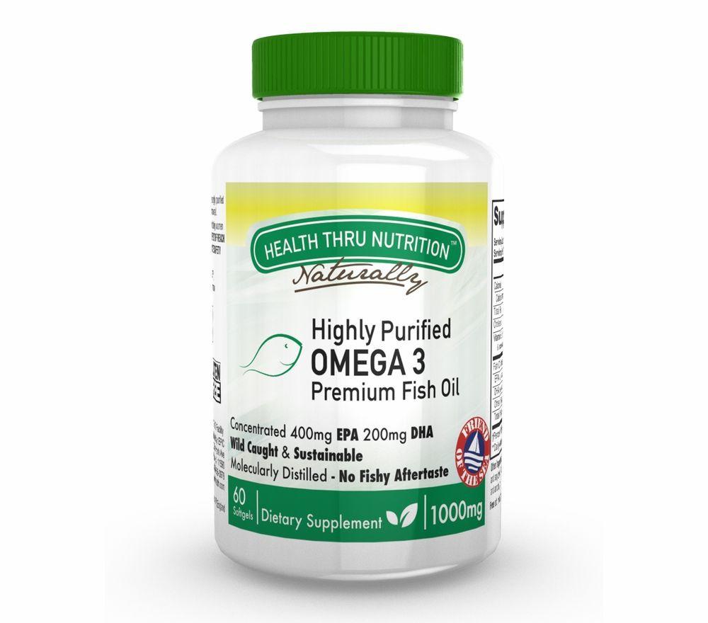 Image of HP Omega-3 Premium 1000 mg (400 EPA / 200 DHA) (60 Softgels) - Health Thru Nutrition 0819193020425