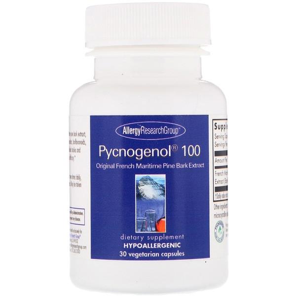 Image of Pycnogenol 100 30 Vegetarian Capsules - Allergy Research Group 0713947872745