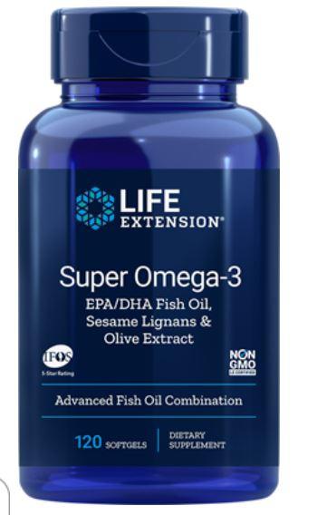 Life Extension, Super Omega 3 EPA/DHA con sesamo lignani & frutto di oliva estratto, 60 Softgels