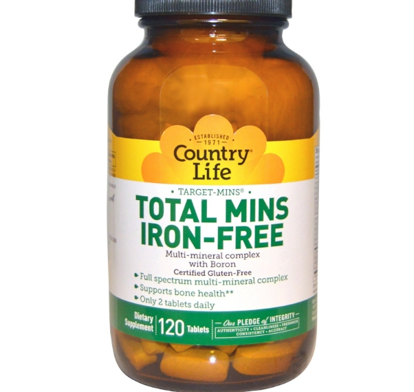 Image of Country Life, Gluten Free, Total Mins Iron-Free, Multi-Mineral Complex with Boron, 120 Tablets 0015794025146