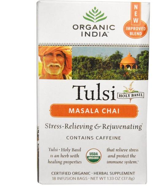 Tulsi Santo basilico tè, Masala Chai, 18 sacche di infusione (37,8 g) Organic India