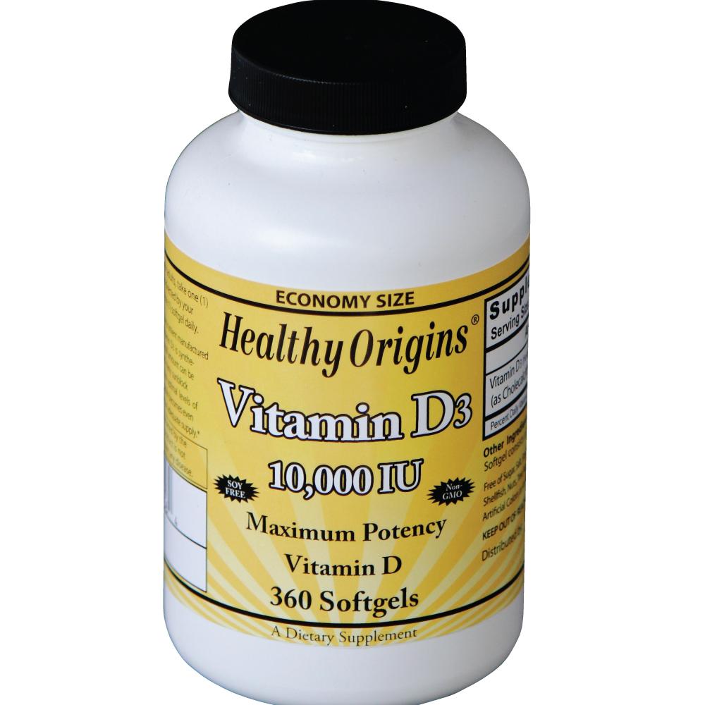 Image of Vitamina D3, 10.000 IU, 360 capsule alle , Healthy Origins, 0603573153564