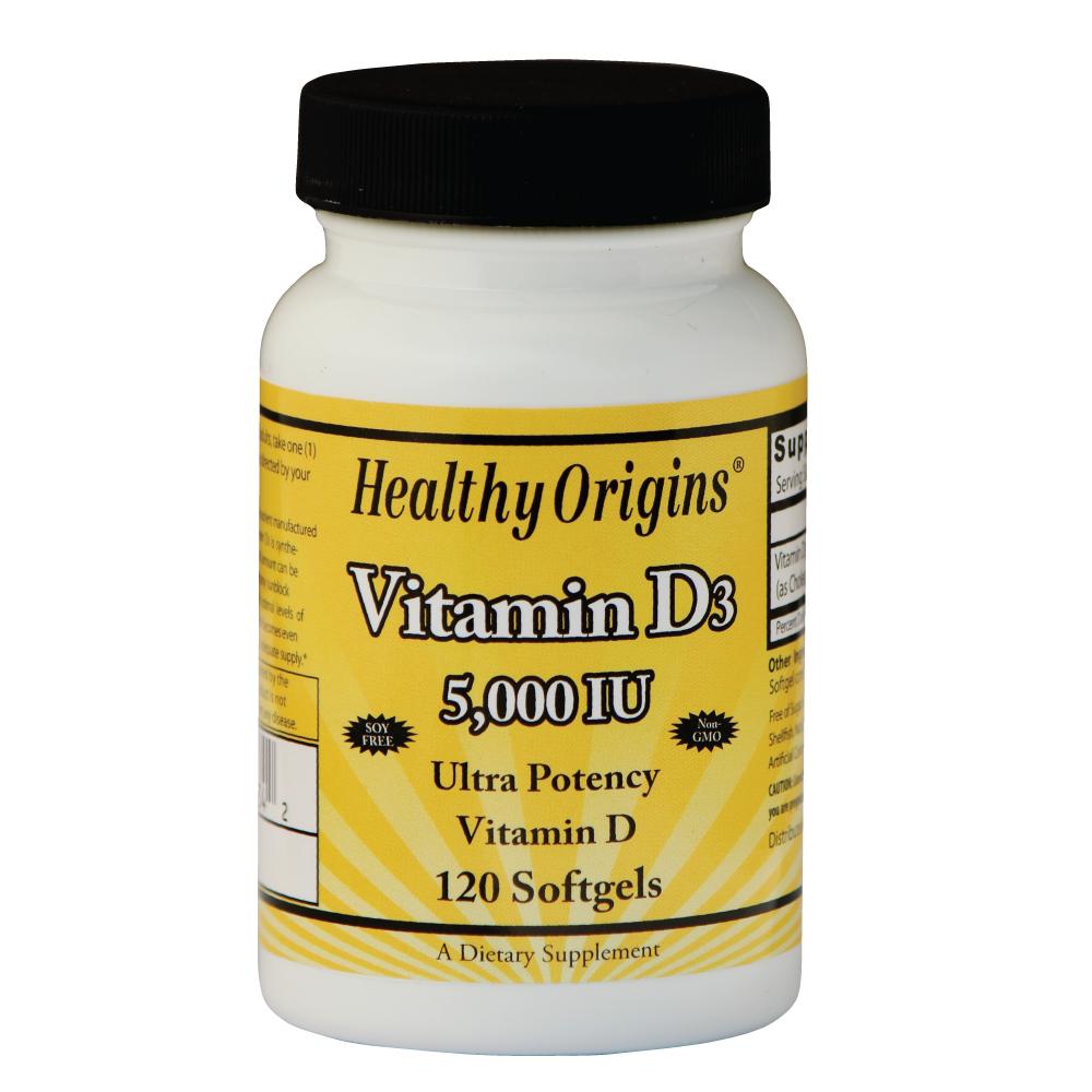 Image of Healthy Origins, vitamina D3, 5.000 IU, 120 Softgels 0603573153342