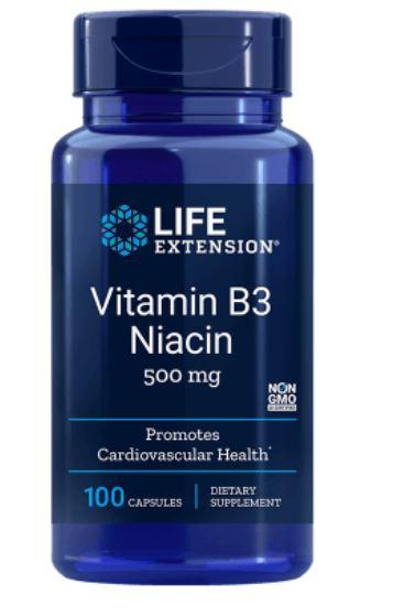 Image of Vitamina B3 Niacina 500 Mg - 100 Capsule- Life Extension 0737870372103