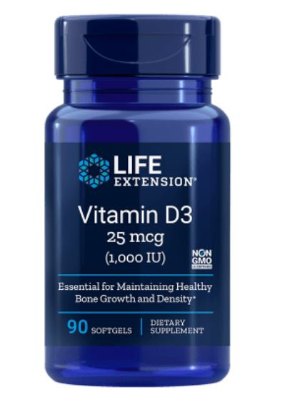 Image of Vitamina D3, 1.000 Ui 90 Capsule Morbide - LifeExtension 0737870175391