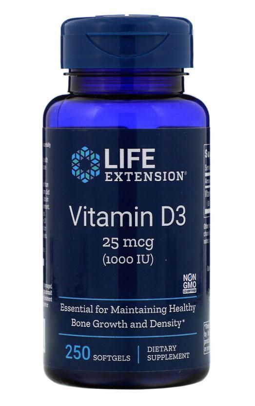 Image of Life Extension, 1000 UI di vitamina D3, 250 Softgels 0737870175124