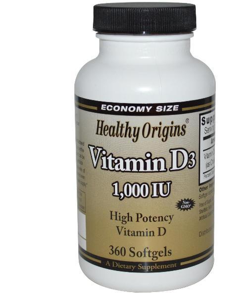 Image of Healthy Origins, 1000 UI di vitamina D3, 360 Softgels 0603573153182