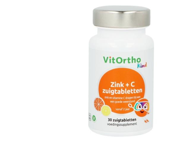 Image of Zink + C zuigtabletten (Kind) 30 zuigtabs - VitOrtho 8717056141299