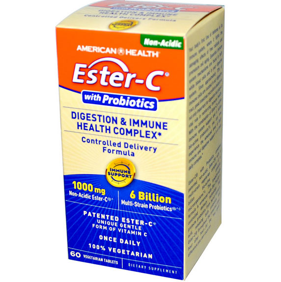 Image of American Health, Ester-C con probiotici, digestione & salute sistema immunitario complesso, 60 compresse Veggie 0076630367097