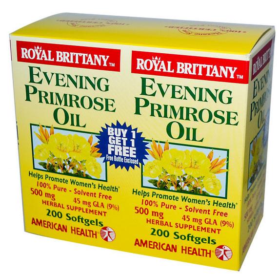 Image of American Health, Bretagna reale olio di enotera 500 mg, 2 bottiglie, 200 Softgels ogni 0076630036344